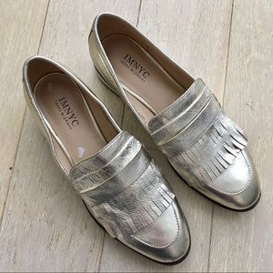 Gold Leather Isaac Mizrahi NYC Fringe Loafers 7.5